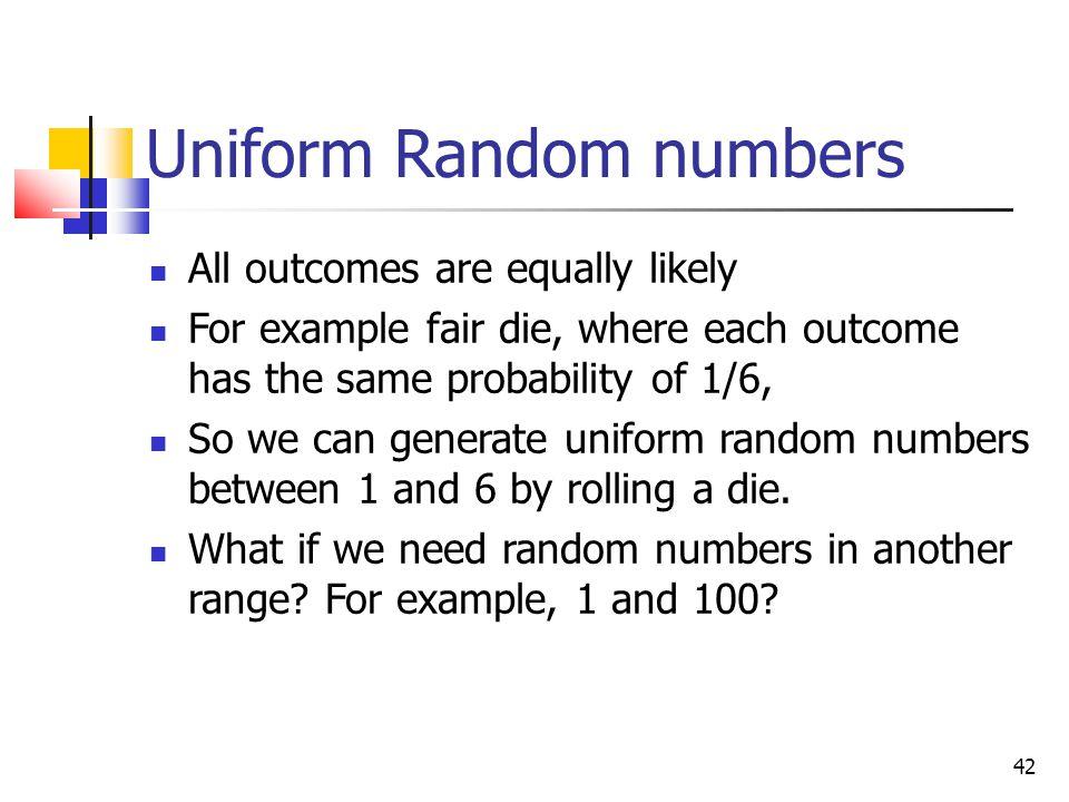 Uniform Random numbers
