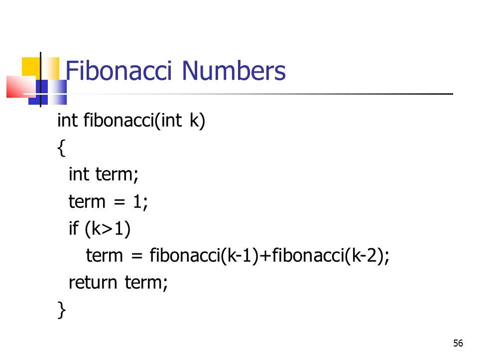 Fibonacci Numbers int fibonacci(int k) { int term; term = 1;