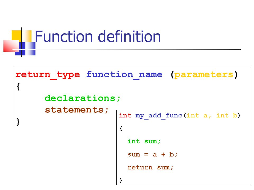 Function definition return_type function_name (parameters) {