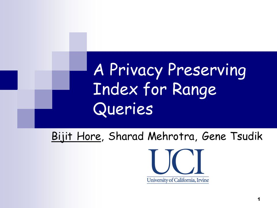 A Privacy Preserving Index for Range Queries