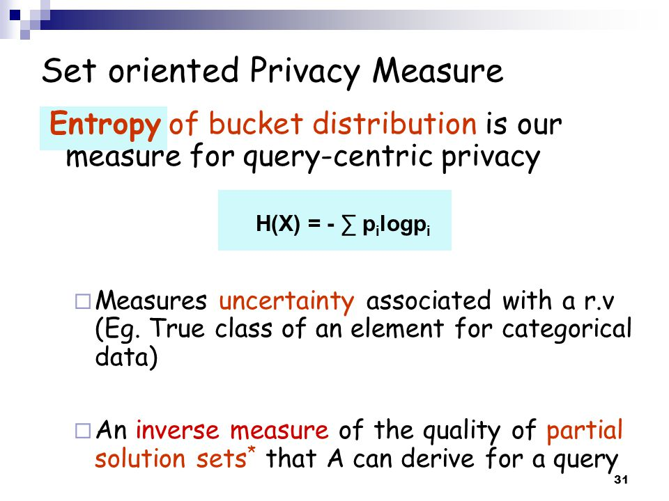 Set oriented Privacy Measure