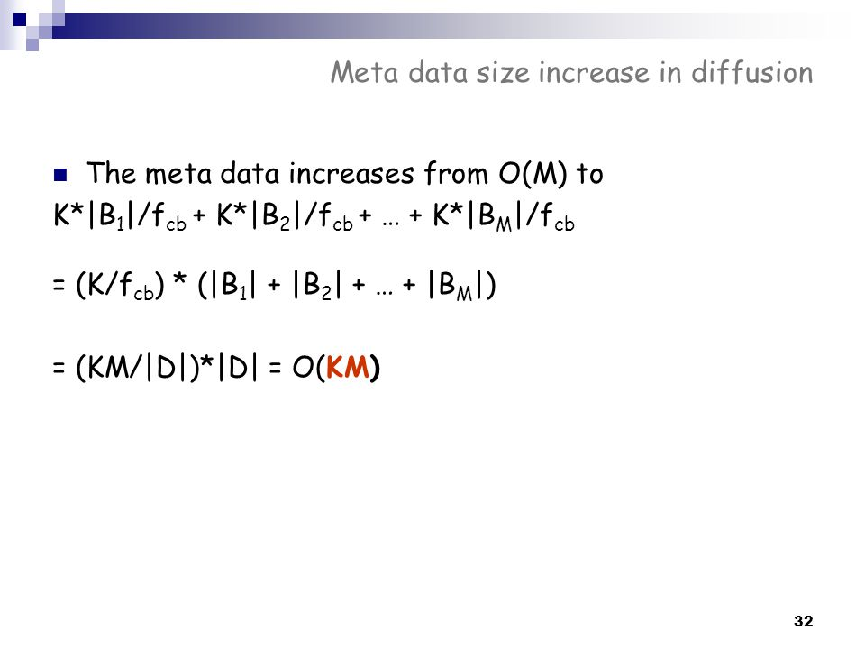 Meta data size increase in diffusion