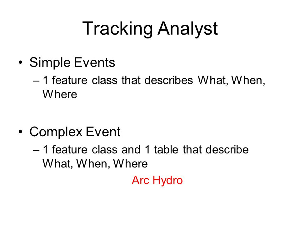 Tracking Analyst Simple Events Complex Event