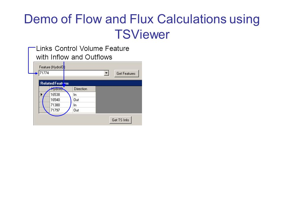 Demo of Flow and Flux Calculations using TSViewer