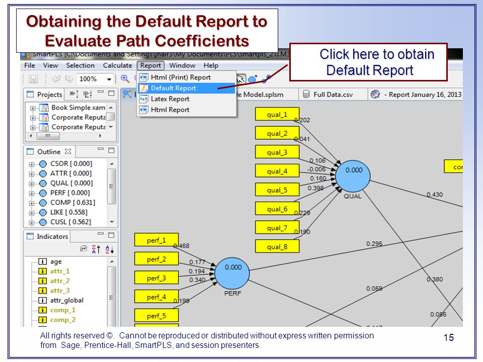 Obtaining the Default Report to Evaluate Path Coefficients