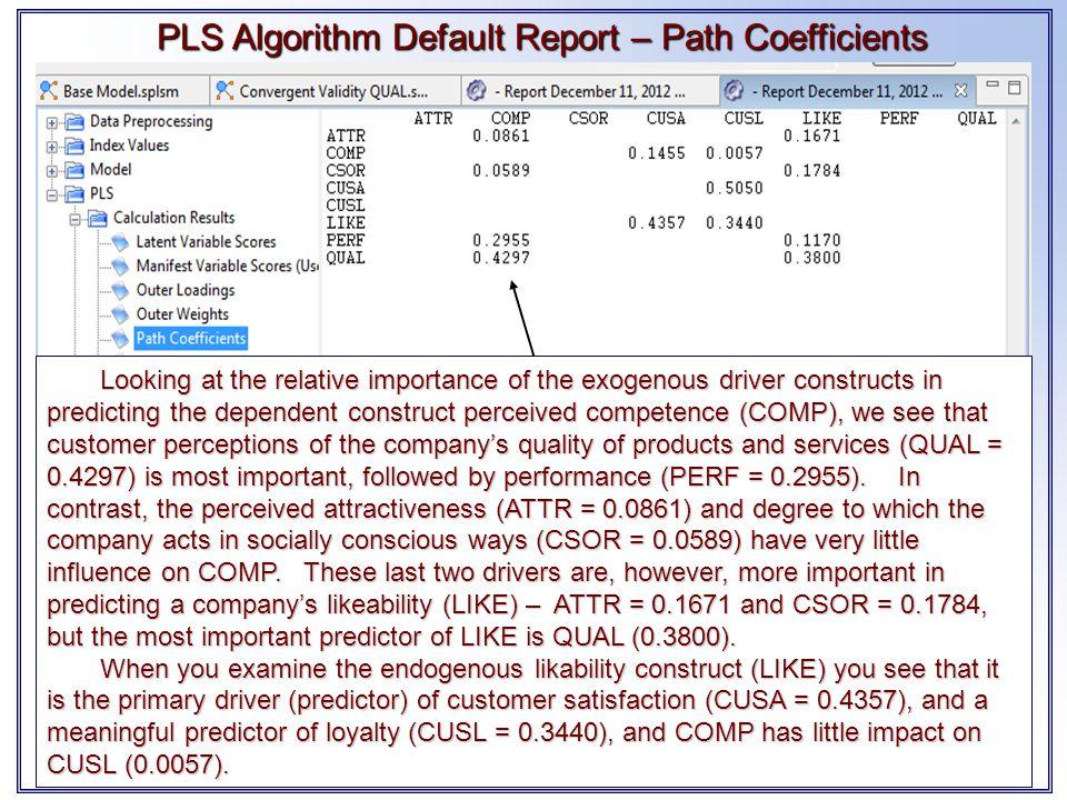 PLS Algorithm Default Report – Path Coefficients