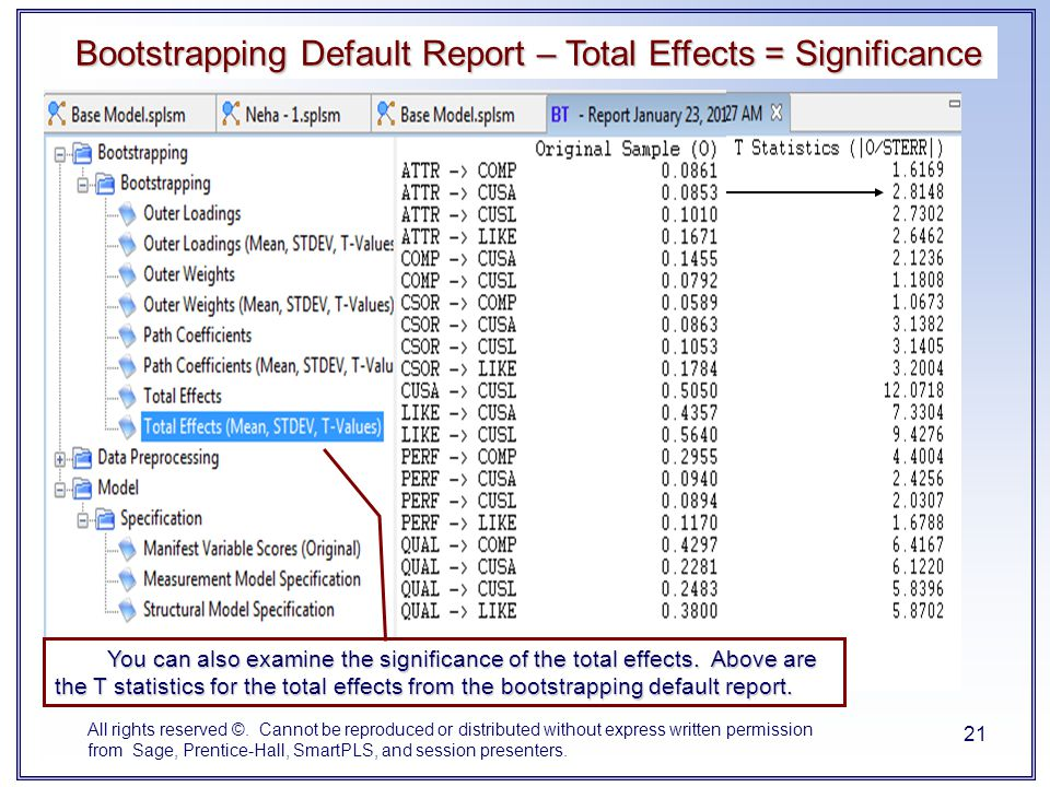 Bootstrapping Default Report – Total Effects = Significance