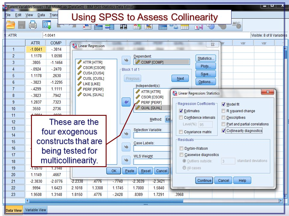 Using SPSS to Assess Collinearity
