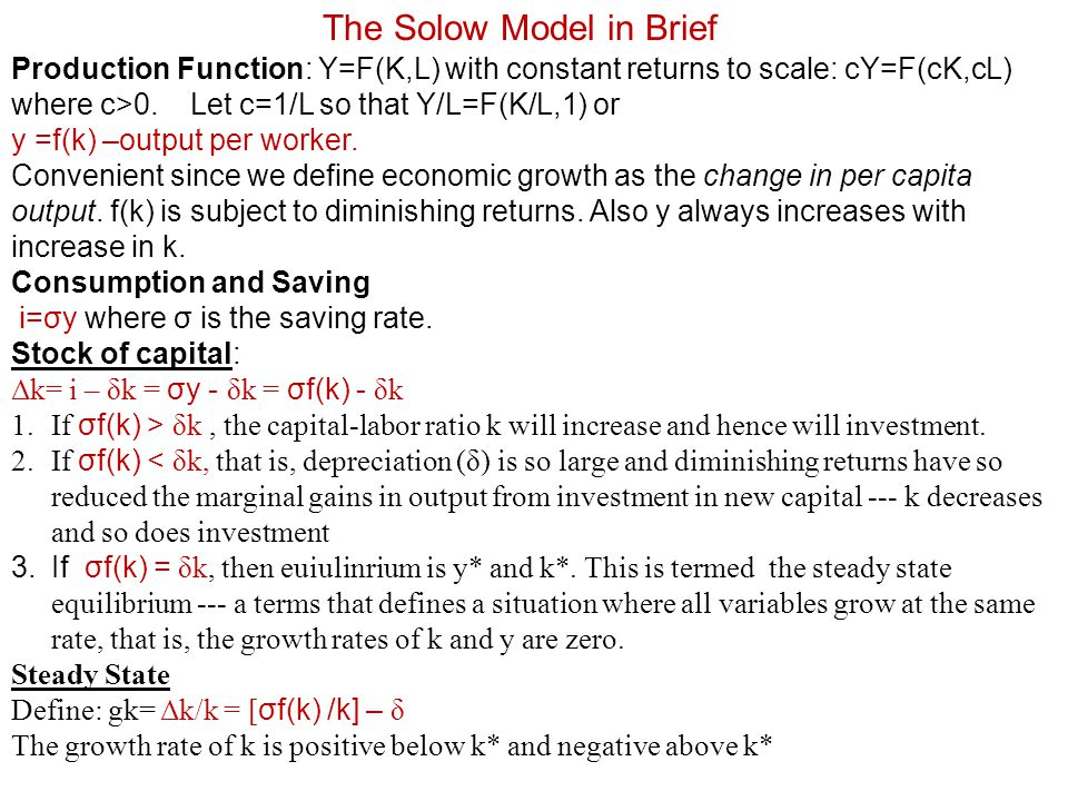 The Solow Model in Brief