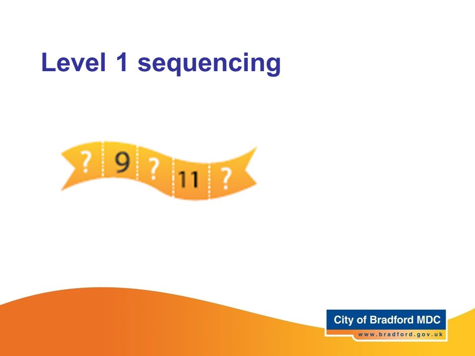 Level 1 sequencing Forwards and backwards in 1s upto 20. Source: securing level 1