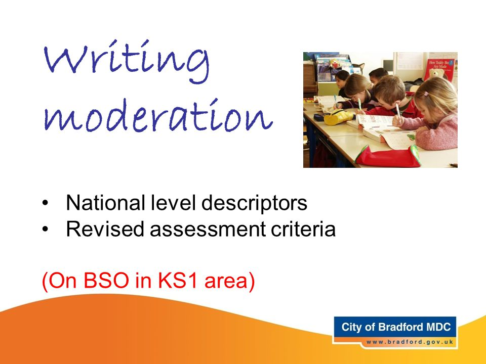 Writing moderation National level descriptors