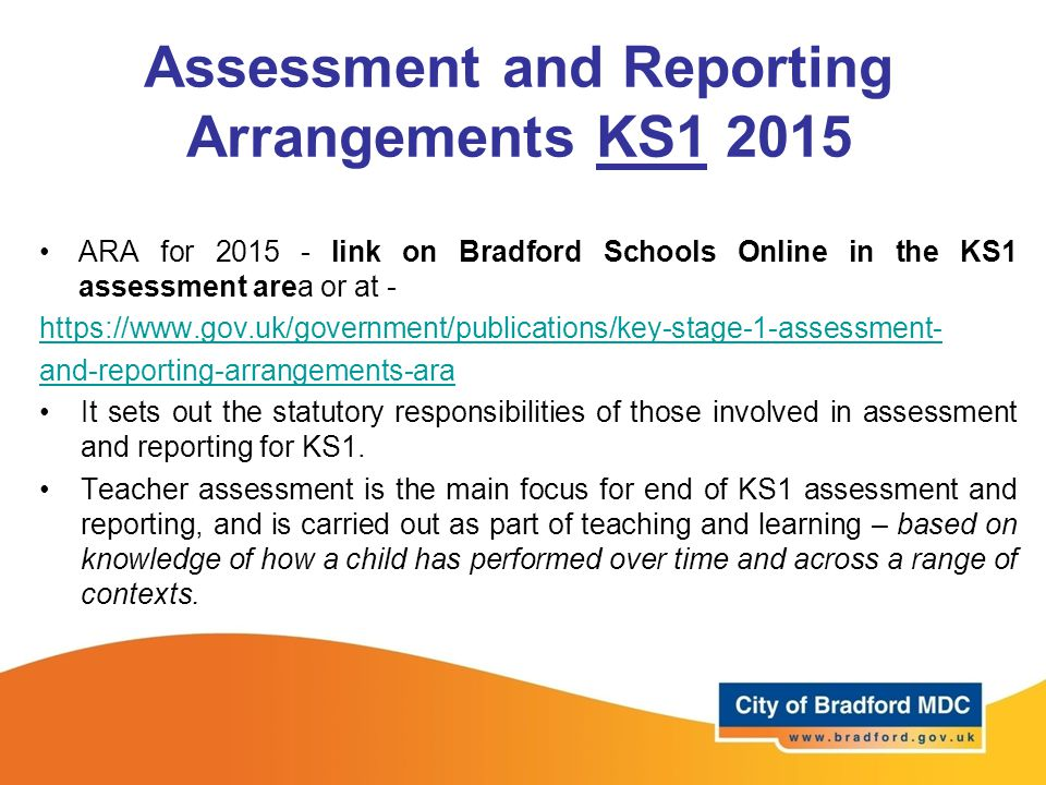 Assessment and Reporting Arrangements KS1 2015