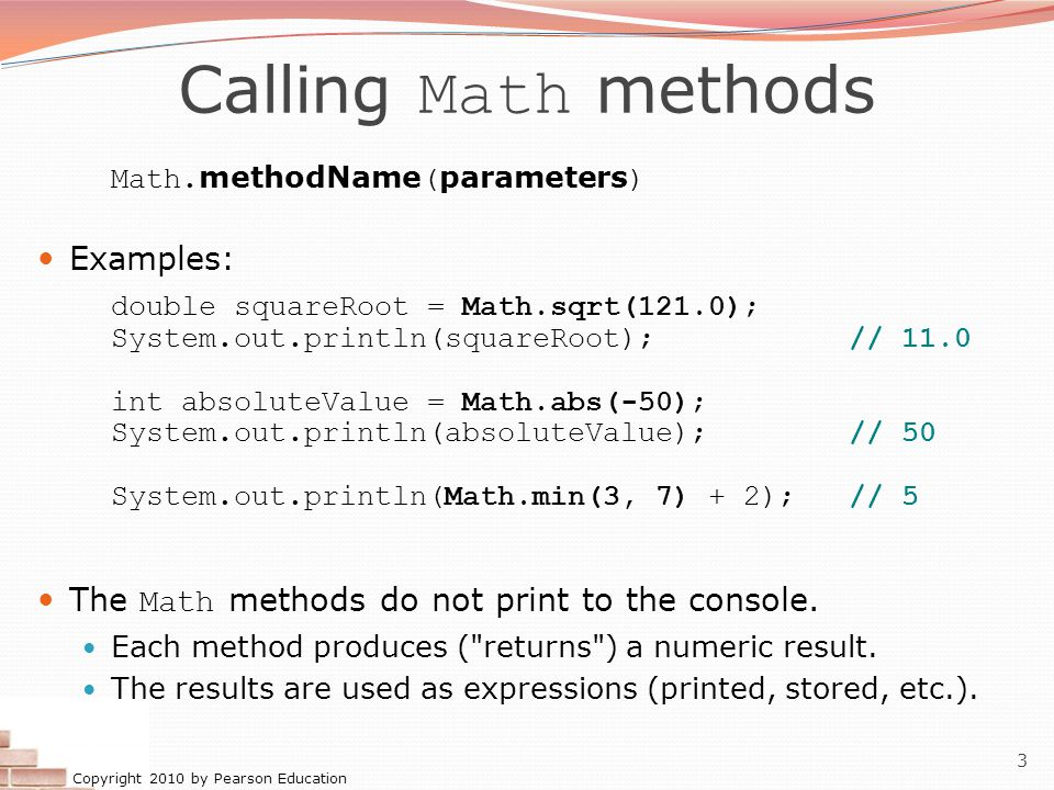 Calling Math methods Examples: