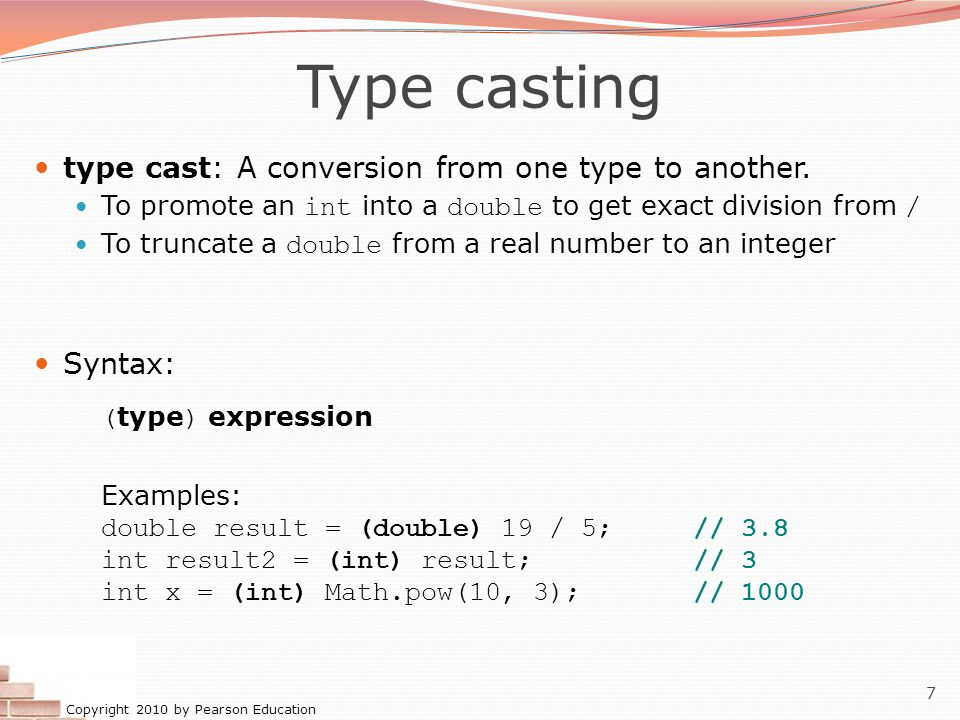 Type casting type cast: A conversion from one type to another. Syntax: