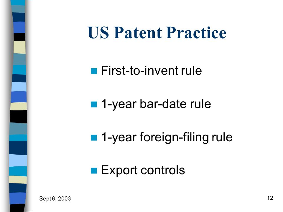 US Patent Practice First-to-invent rule 1-year bar-date rule