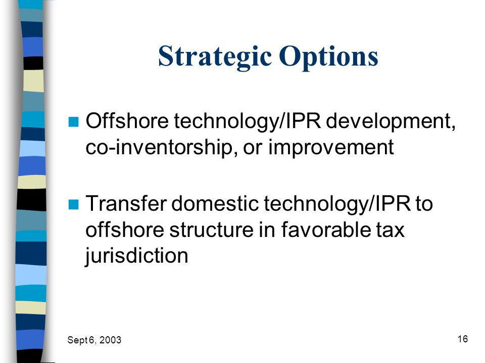 Strategic Options Offshore technology/IPR development, co-inventorship, or improvement.