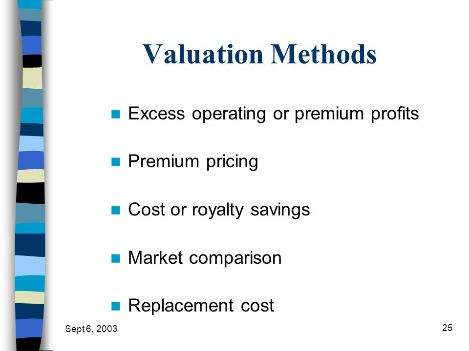 Valuation Methods Excess operating or premium profits Premium pricing