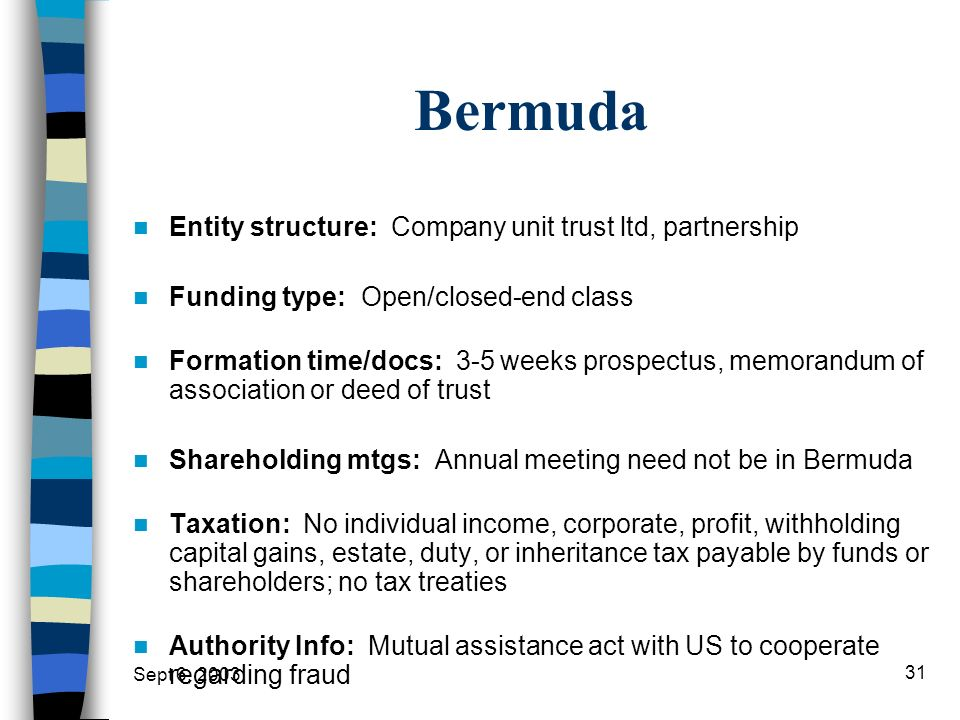 Bermuda Entity structure: Company unit trust ltd, partnership