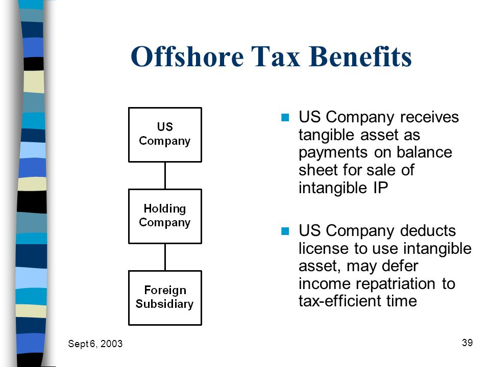 Offshore Tax Benefits US Company receives tangible asset as payments on balance sheet for sale of intangible IP.