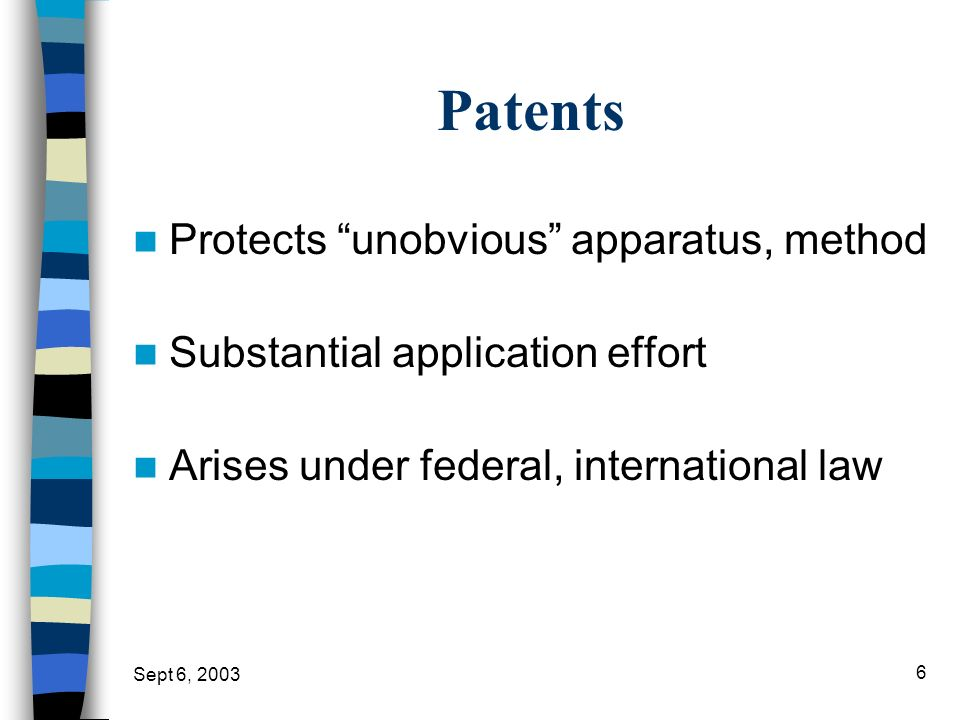 Patents Protects unobvious apparatus, method