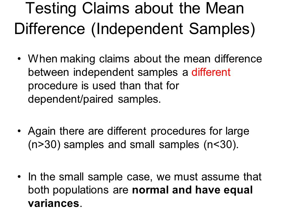 Testing Claims about the Mean Difference (Independent Samples)