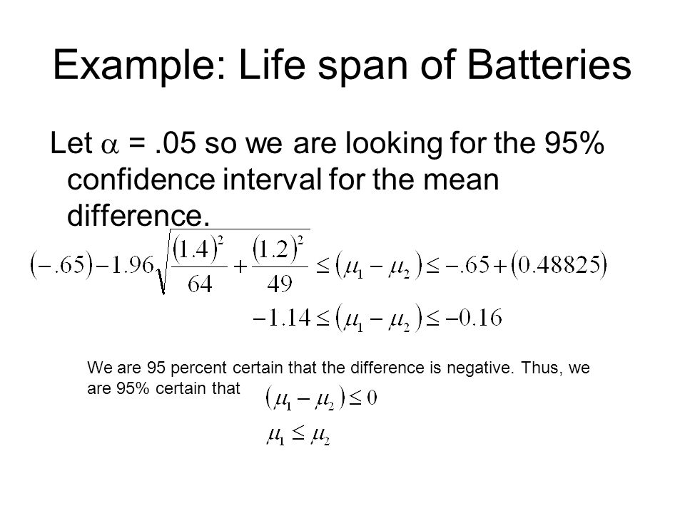 Example: Life span of Batteries