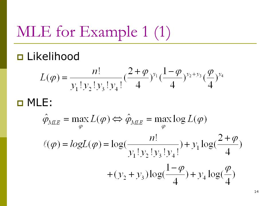MLE for Example 1 (1) Likelihood MLE: