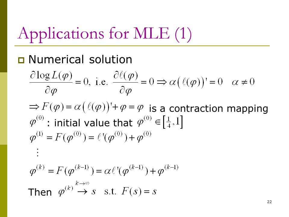 Applications for MLE (1)