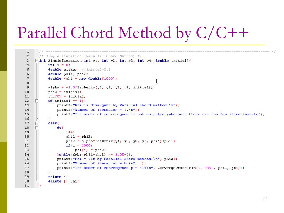 Parallel Chord Method by C/C++