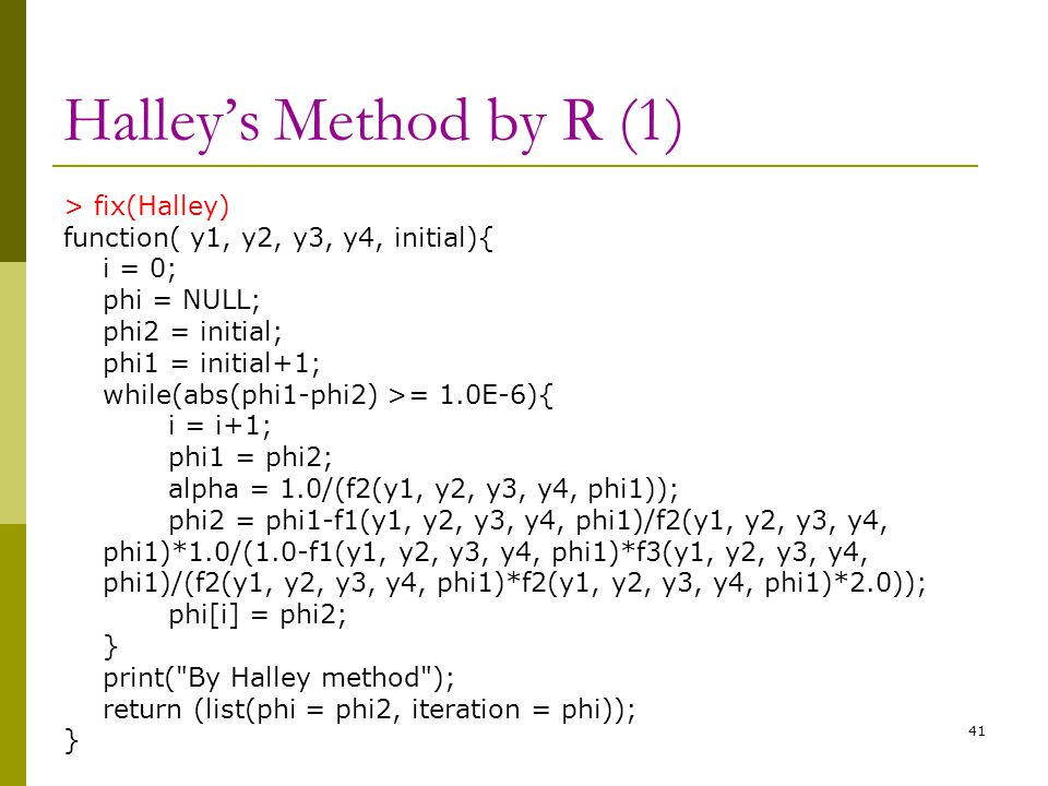 Halley's Method by R (1)