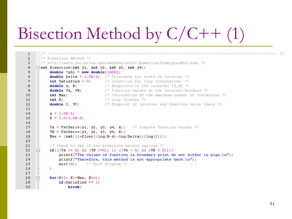 Bisection Method by C/C++ (1)