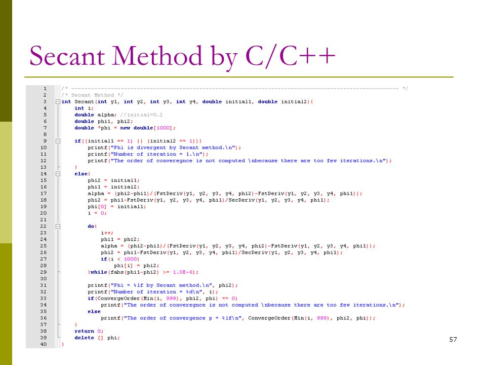 Secant Method by C/C++