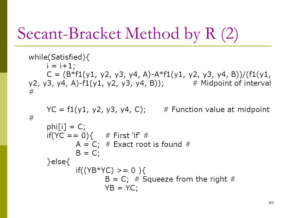 Secant-Bracket Method by R (2)