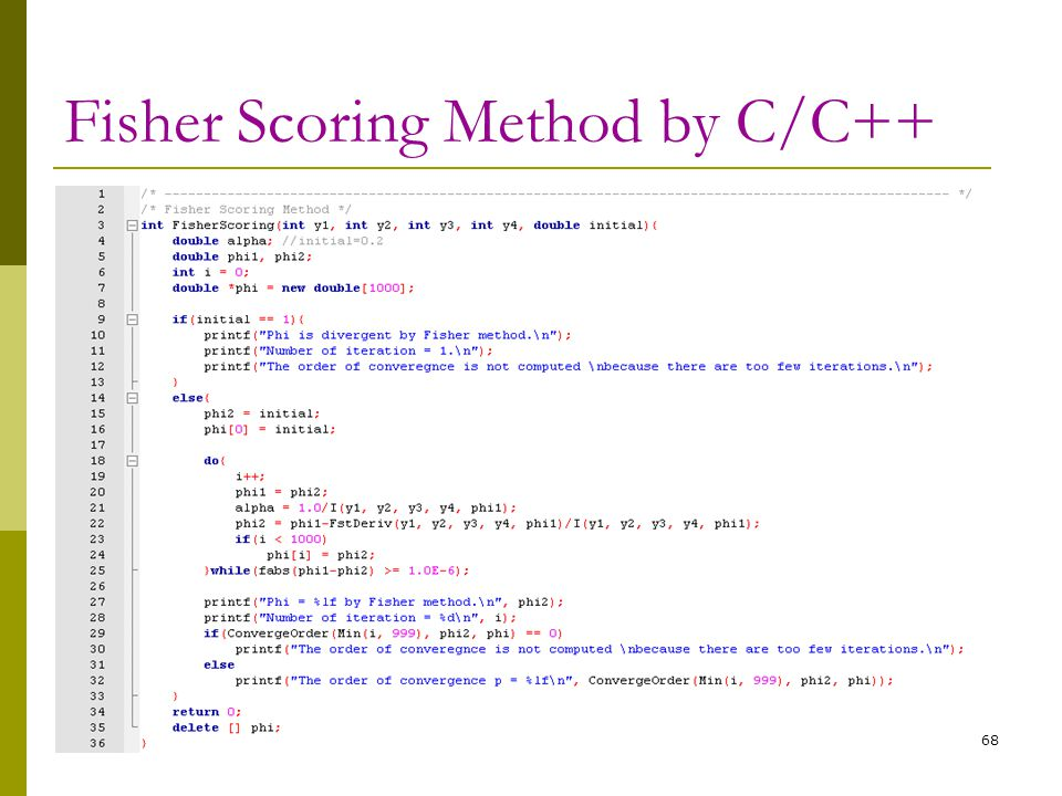 Fisher Scoring Method by C/C++