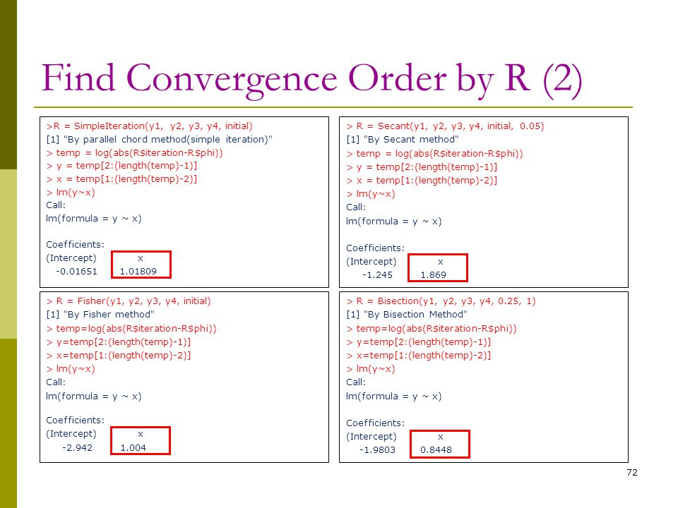 Find Convergence Order by R (2)