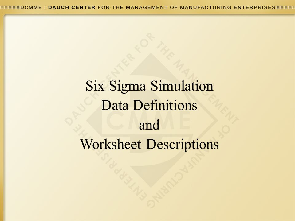Worksheet Descriptions