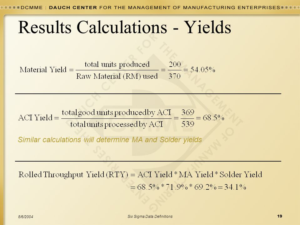 Results Calculations - Yields