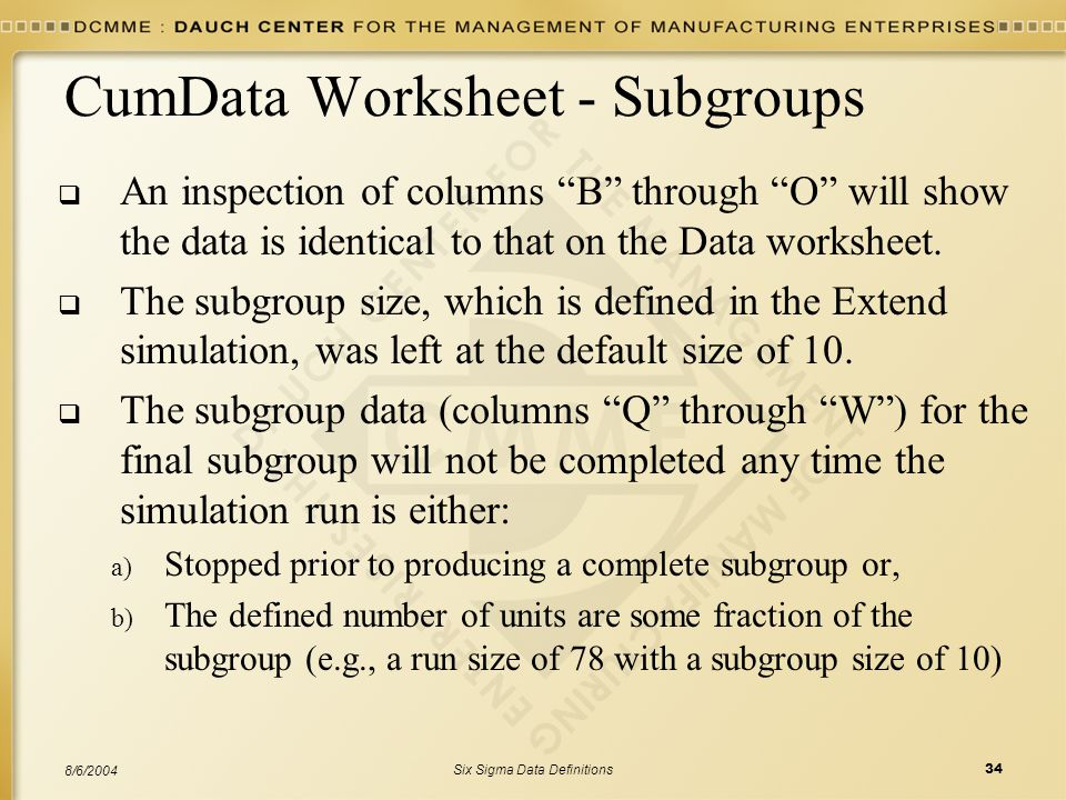 CumData Worksheet - Subgroups