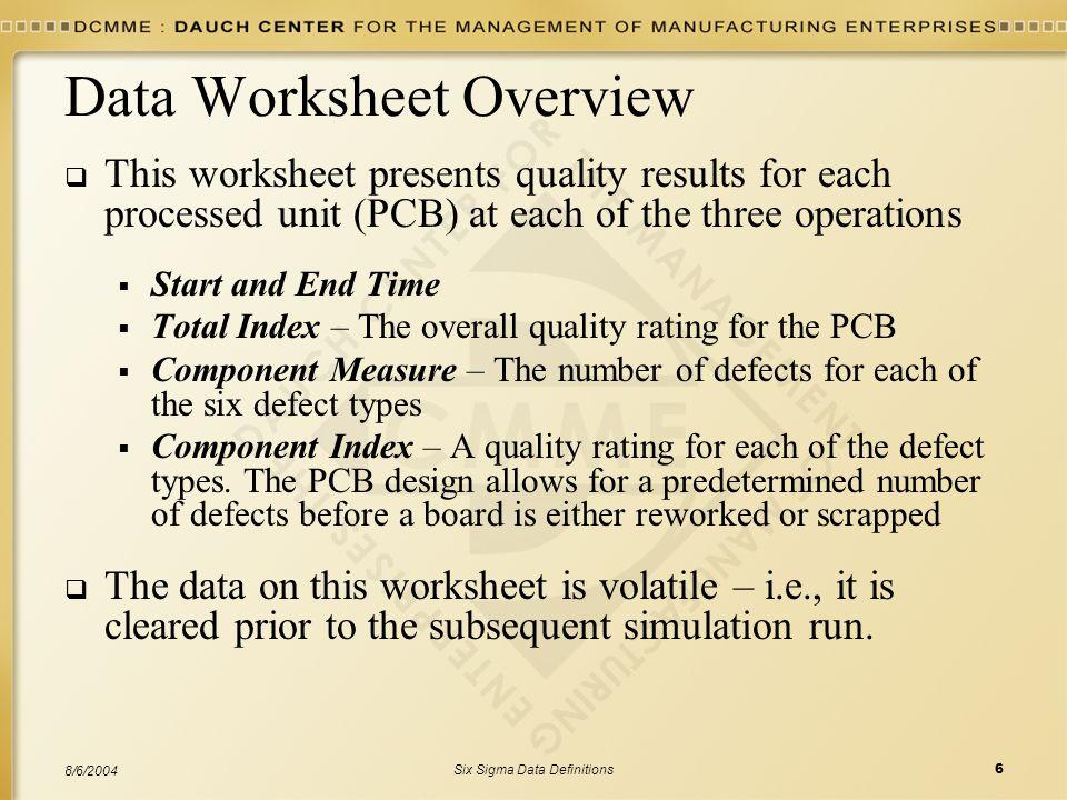 Data Worksheet Overview