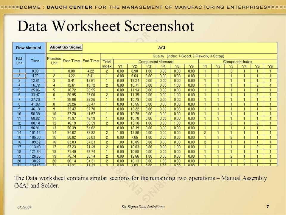 Data Worksheet Screenshot
