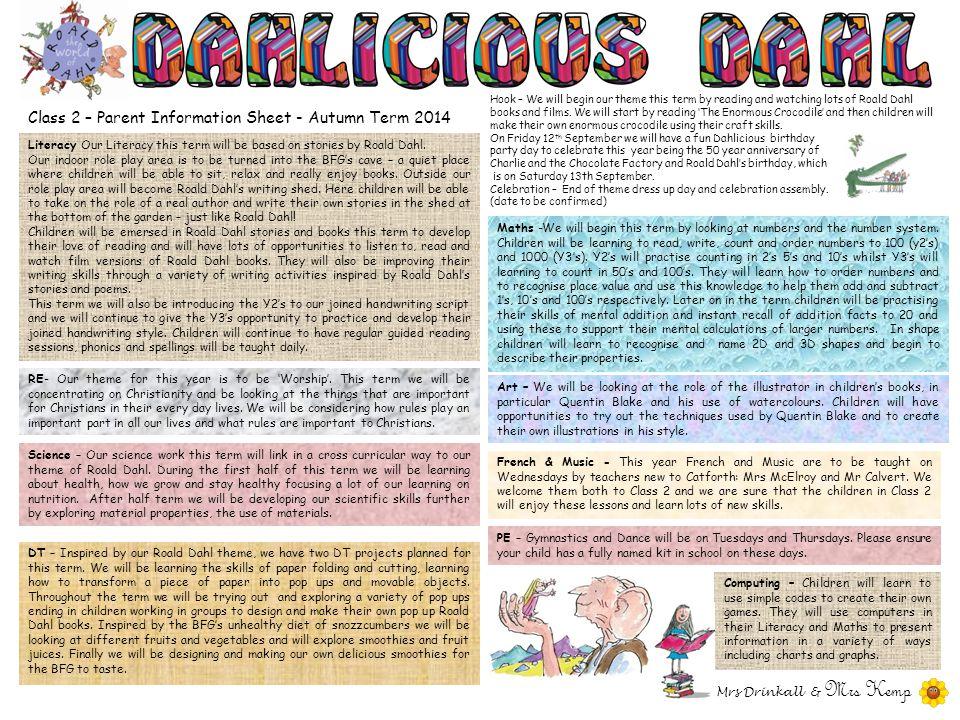Class 2 – Parent Information Sheet - Autumn Term 2014