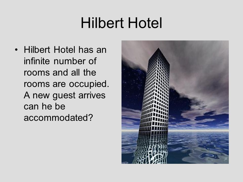 Hilbert Hotel Hilbert Hotel has an infinite number of rooms and all the rooms are occupied.