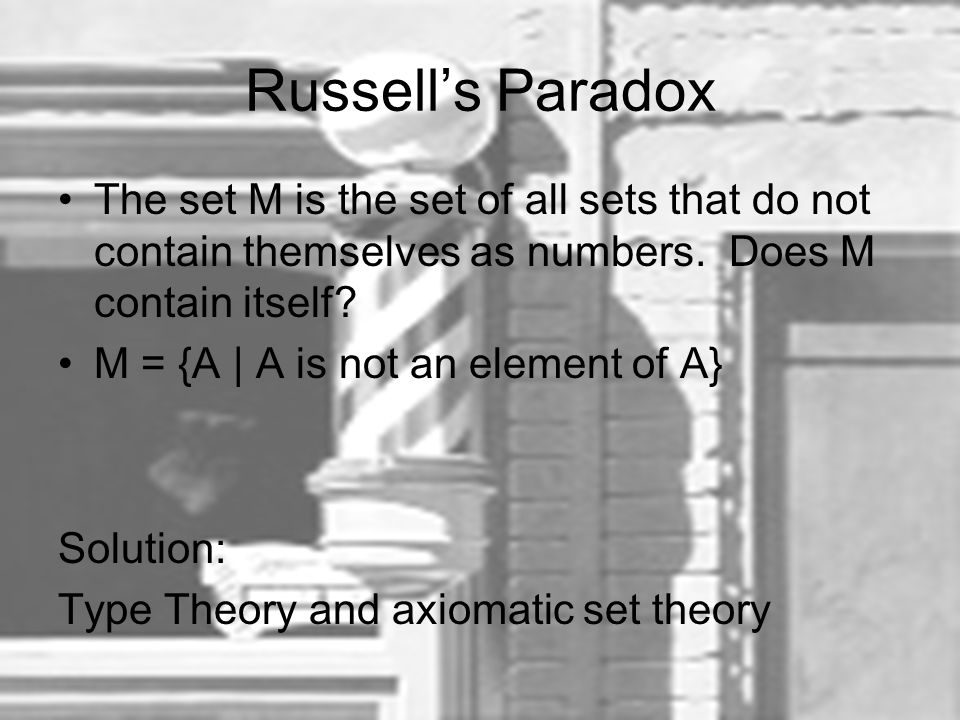 Russell's Paradox The set M is the set of all sets that do not contain themselves as numbers. Does M contain itself