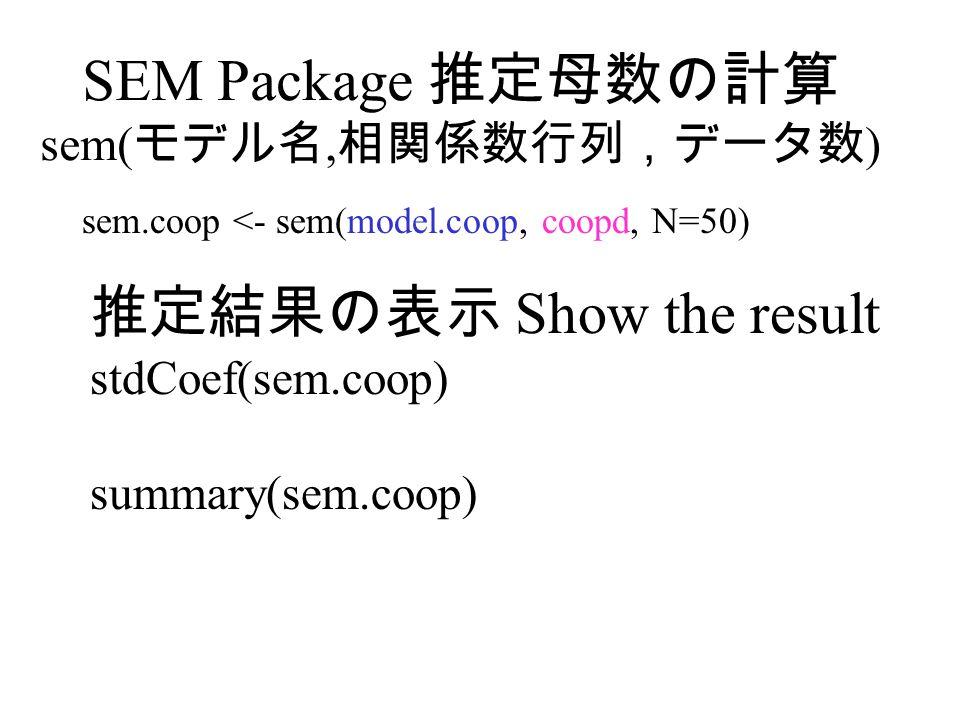 SEM Package 推定母数の計算 sem(モデル名,相関係数行列,データ数)