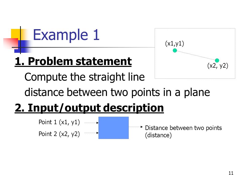 Example 1 1. Problem statement Compute the straight line