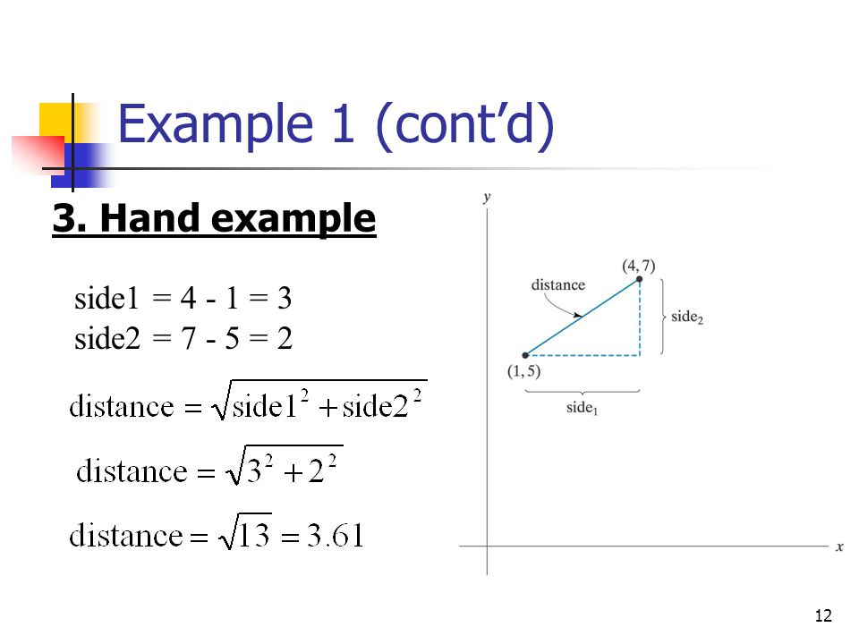 Example 1 (cont'd) 3. Hand example side1 = 4 - 1 = 3 side2 = 7 - 5 = 2