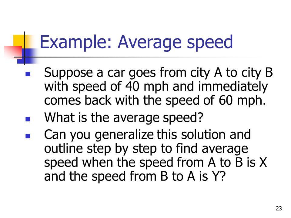 Example: Average speed