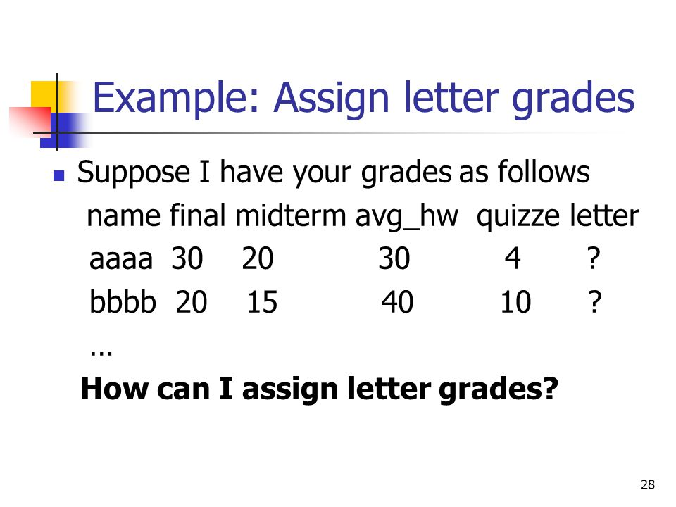 Example: Assign letter grades