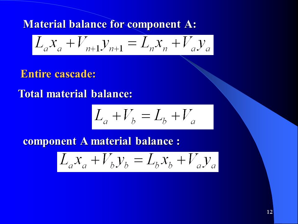 Material balance for component A: