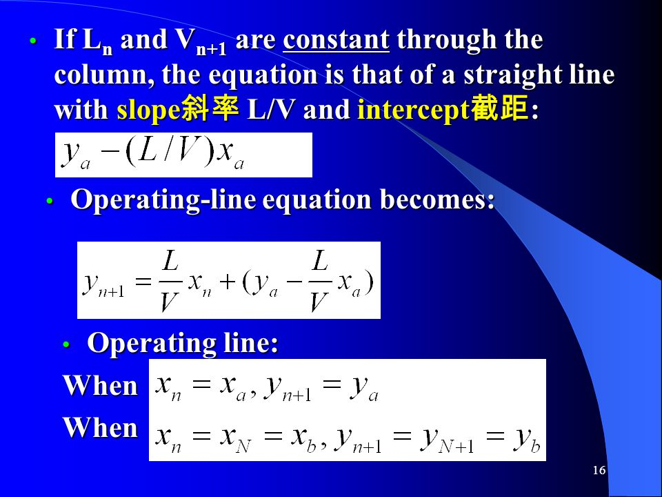 If Ln and Vn+1 are constant through the column, the equation is that of a straight line with slope斜率 L/V and intercept截距: